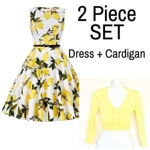 NEW 2-PC SET: Pinup Lemon Dress + Yellow Cardigan